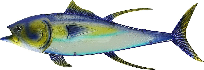 Chesapeake Bay Metal and Glass Yellowfin Tuna Fish Wall Sculpture