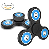 Wisdomspot Fidget Spinner Toy Stress Reducer - Perfect For ADD, ADHD, Anxiety, and Autism Adult Children for Killing Time -2 Pack(Blue)