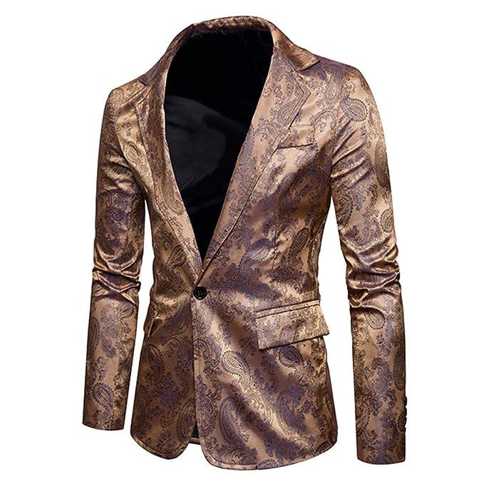 Hombres Blazers Chaqueta Slim Fit Vestido Traje Vestido Chaqueta de Oro Chaqueta Formal Ropa Retro Gold