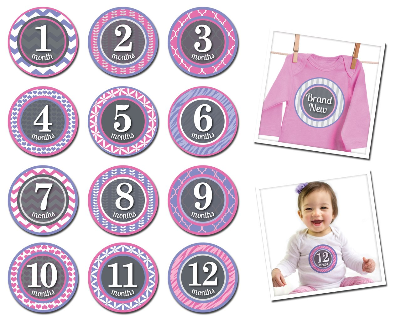 Sticky Bellies Baby Monat Aufkleber–gemustert Prinzessin 1–12Monate 307