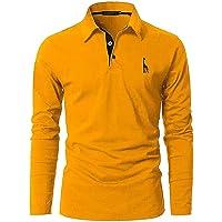 GNRSPTY Polo Manga Larga Hombre Algodon Slim Fit Camiseta Colores de Contraste Bordado de Ciervo Deporte Basic Golf…