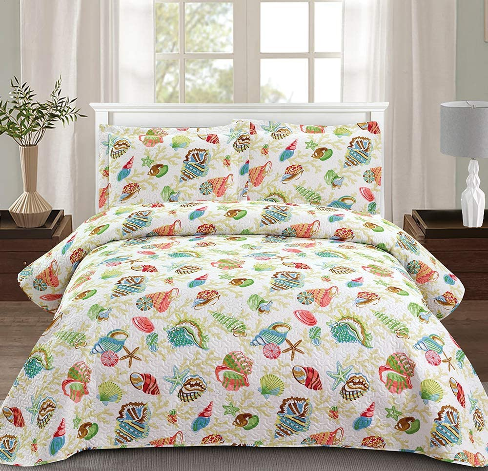"Jessy Home Beach Bedding 3 Piece Queen/Full Size Coastal Ocean Quilts Set Starfish Conch Seashell Decor Reversible Bedspread Coverlet Set Super Soft Lightweight All-Season Quilt (90"" 90"") Green"