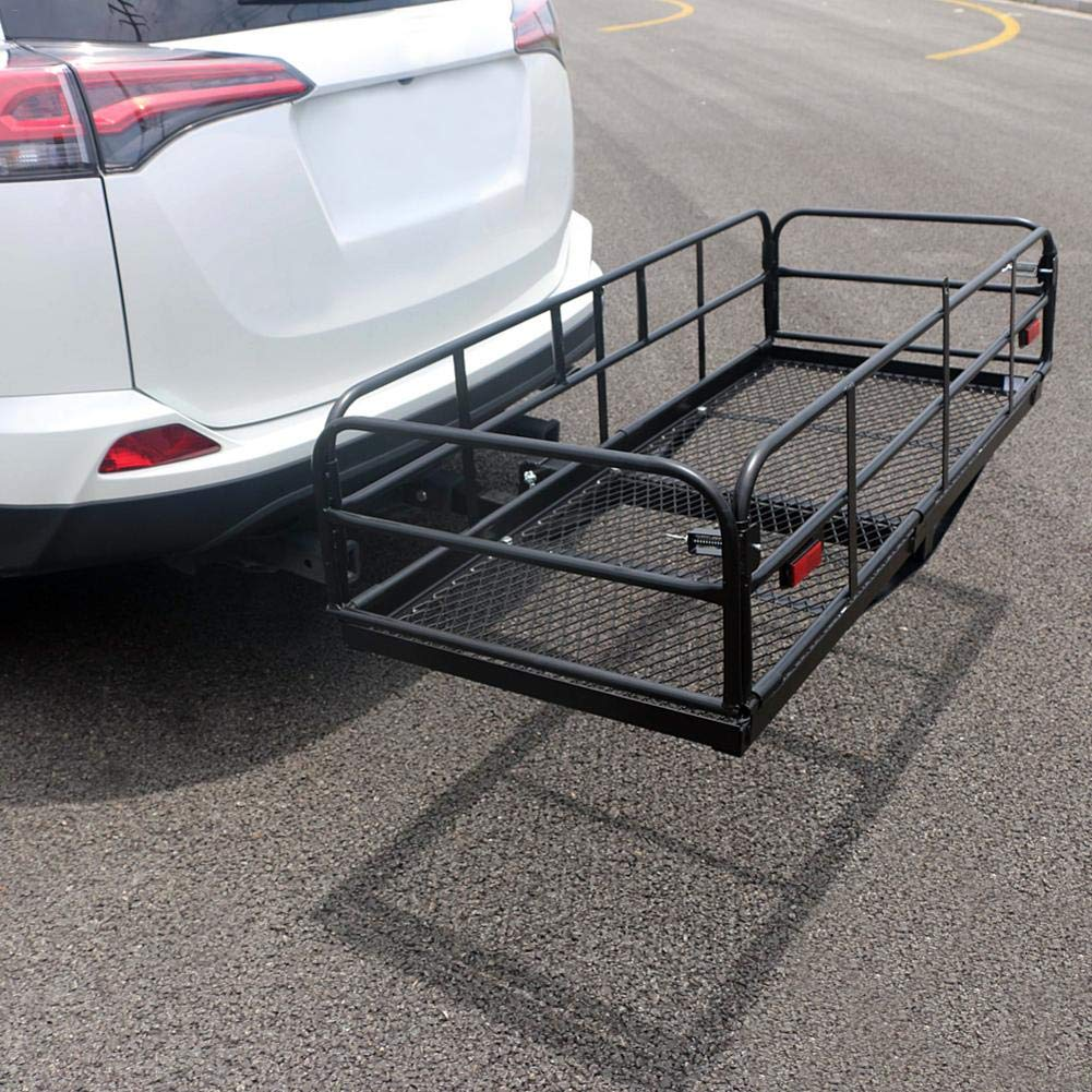 Compact Cargo Carrier Cargo Carrier Basket Hitch Mount Heavy Duty Steel for 2' Hitch Receiver Hook Hanging Basket 60'' Car Back Luggage with 2'Receiver Hook SUV RV Camping Wagon Folding Cargo Hook Caliybrid
