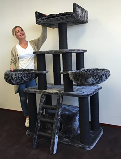 Cat Tree For Large Cats Tiger Blackline Dark Grey  Lbs 5