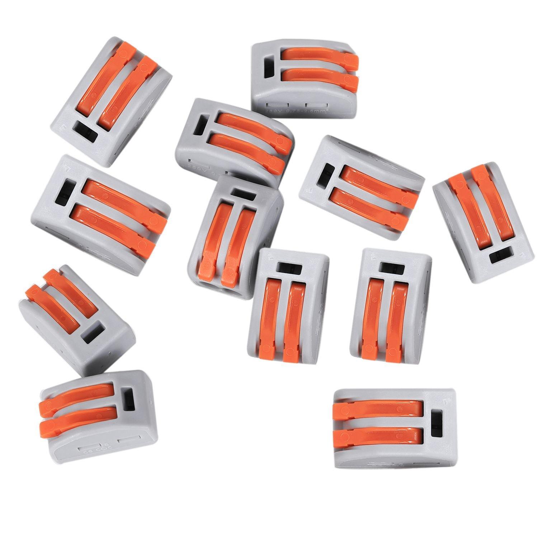 TOOGOO 222-412 2-Port Lever Cage Clamp Terminal Block Connectors - Gray + Orange (Pack of 10)