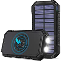 Solar Power Bank 26800mAh, Riapow Solar Charger Fast Charge 3.0A Qi Portable Charger External Battery with 4 Outputs…