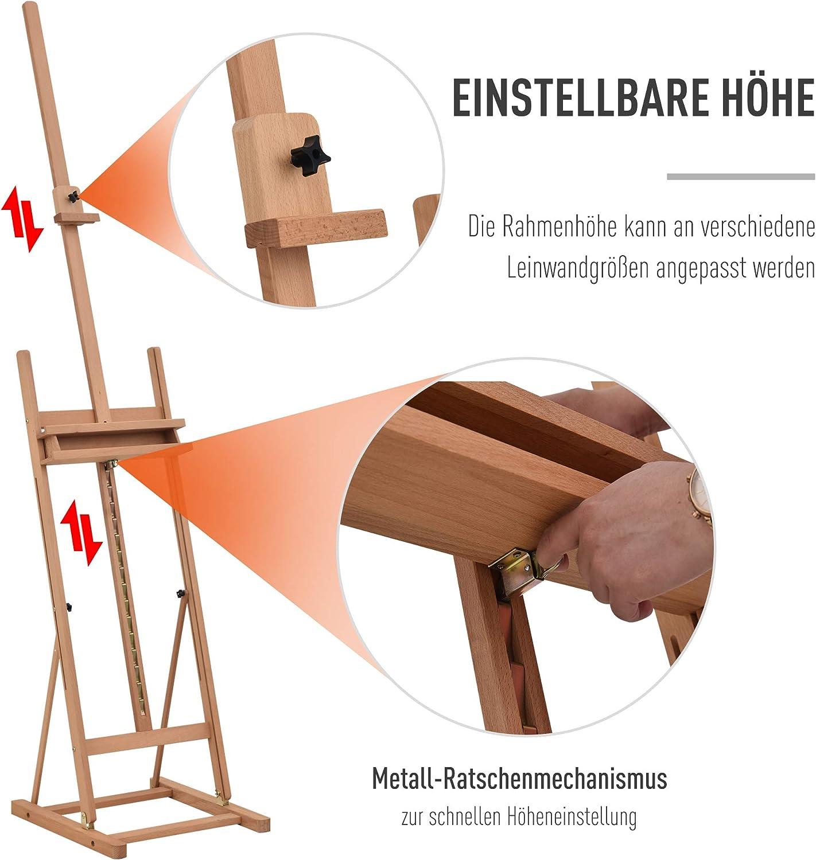 Vinsetto Staffelei Keilrahmen Atelierstaffelei H/öhen und Winkelverstellbar mit Ablagefach Buchenholz Natur 53 x 50,5 x 171-230 cm