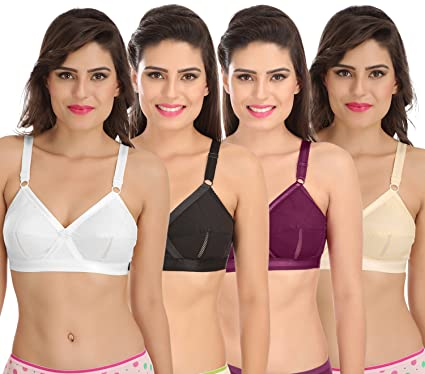 cacfce688a1 Sona Perfecto Women White Full Cup Everyday Plus Size Cotton Bra Full  Coverage Non Padded Pack