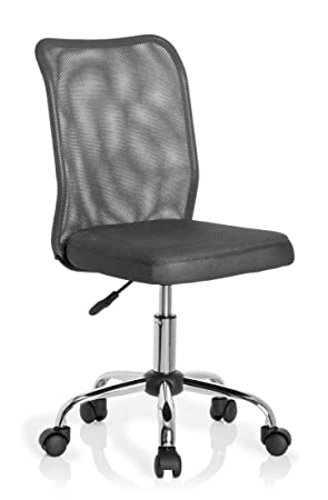 hjh OFFICE 685973 silla para niños KIDDY NET tejido de malla gris, ergonómica, cómoda, fácil de limpiar, malla transpirable, base cromada, ...