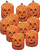 10 Plastic Halloween Jack-o-lantern Pumpkin Leaf Bags Yard Decorations