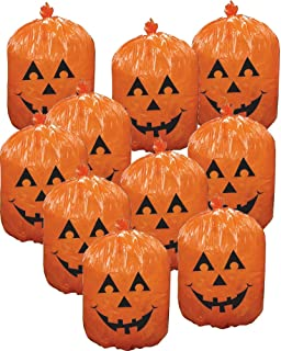 10 plastic halloween jack o lantern pumpkin leaf bags yard decorations - Halloween Decorations Pumpkin