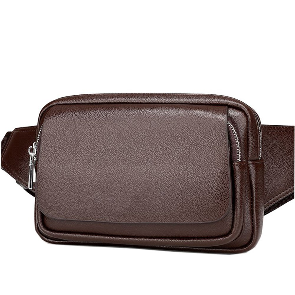 AIAIMEI Genuine Leather Black Waist Bag Messenger Fanny Pack Bum Sling Bag For Men Women Travel Sports Running Hiking, Bumbag