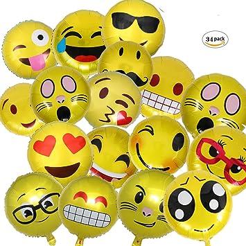 dancepandas Emoji Globos,Expresiones Faciales Decoracion con Globos,Fiesta de Cumpleaños del Festival,34-Piezas Las Expresiones faciales ...
