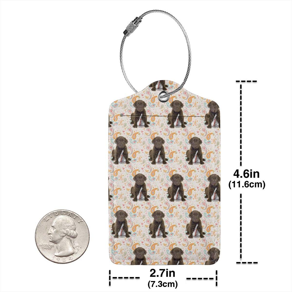 Puppy Chocolate Lab Kisses Luggage Tag Label Travel Bag Label With Privacy Cover Luggage Tag Leather Personalized Suitcase Tag Travel Accessories