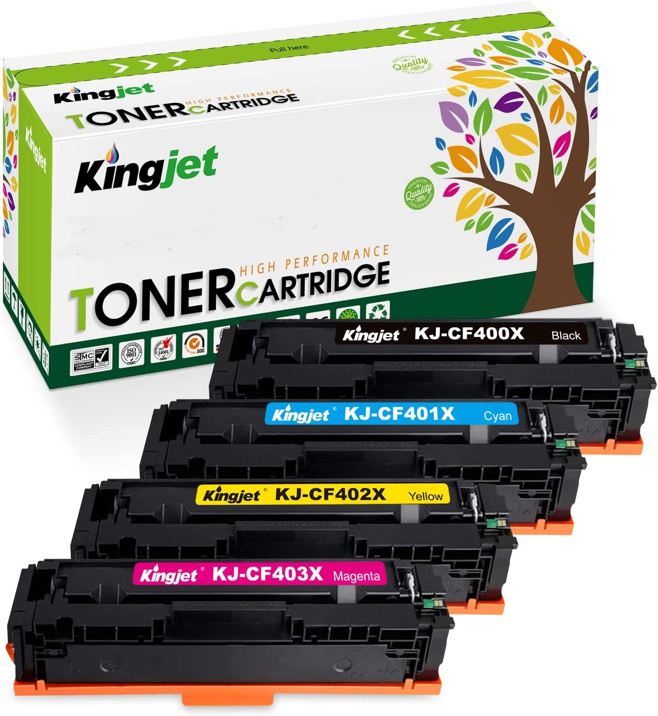 Kingjet Compatible Toner Cartridge Replacement for 201X CF400X 201A CF400A, Use with Color Laserjet Pro MFP M277dw M252dw M277c6 M277n M252n Printer (Black Cyan Magenta Yellow, 4-Pack, High Yield)