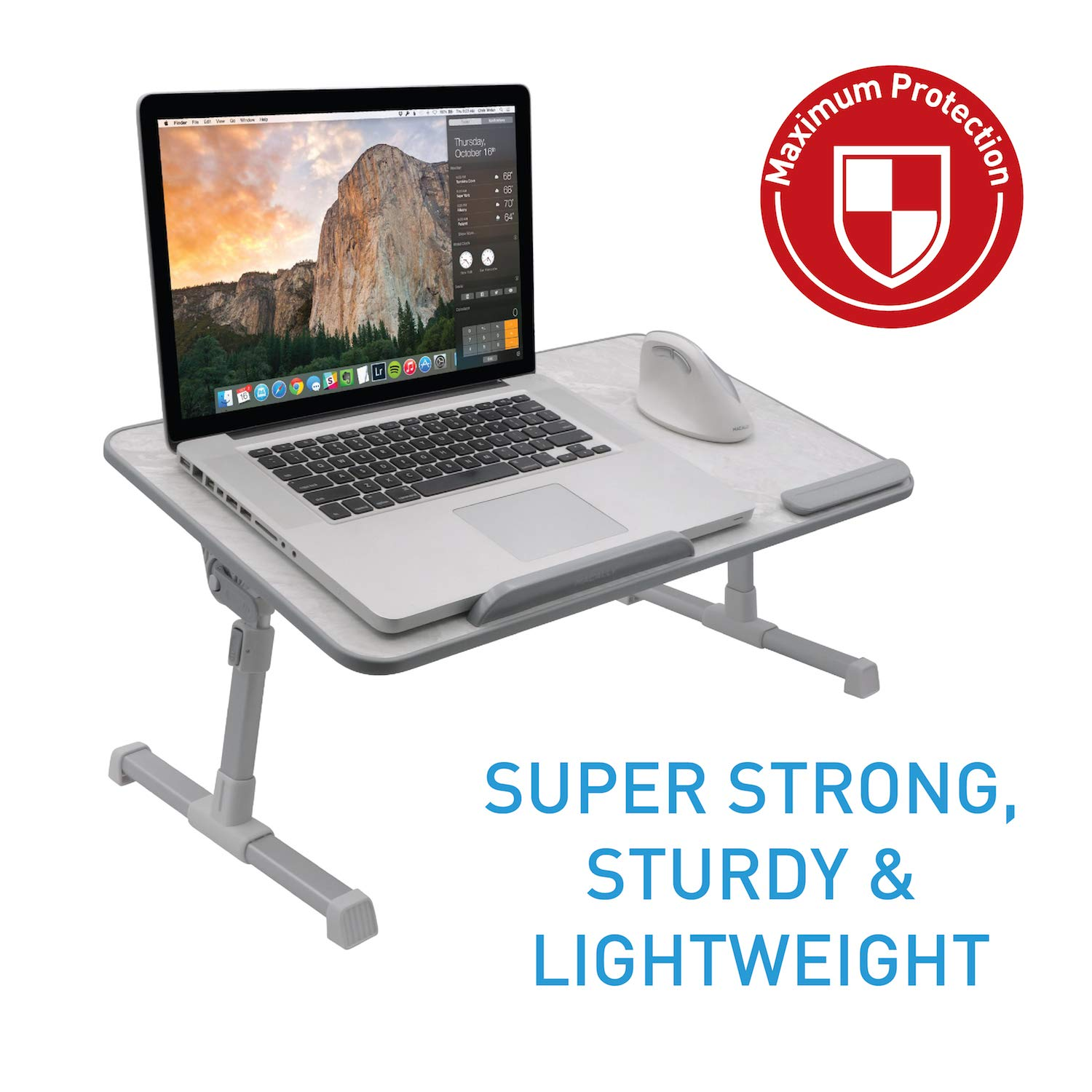 Macally Portable Laptop Table for Bed, [Large Size] Foldable & Height Adjustable Laptop Stand for Table - Sofa, Couch, Recliner - Folding Breakfast Tray Table with Legs, Notebook Lap Holder (Marble) by Macally (Image #5)