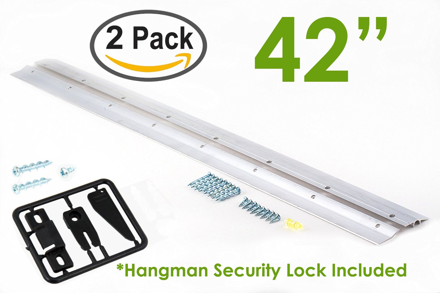 Hangman 42'' Heavy-Duty Mirror and Picture Hanger with Security Lock Includes Walldog Anchorless Screws - Aluminum (HM-42D-SL) | Pack of 2 Hangers