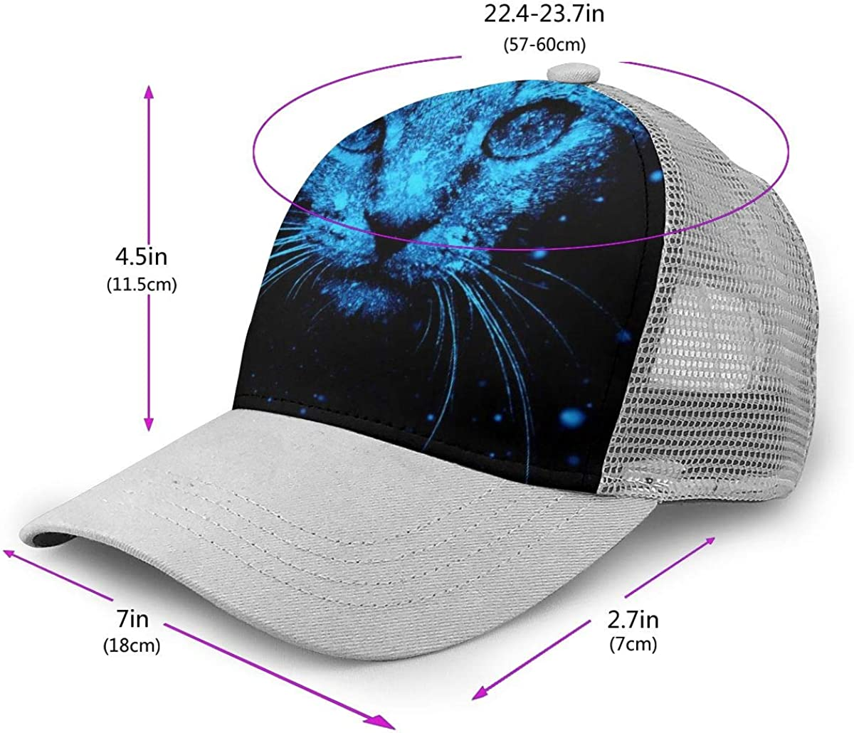 Adjustable Baseball Visor Cap,Mesh Hat Cat Men Women Athletic Hats