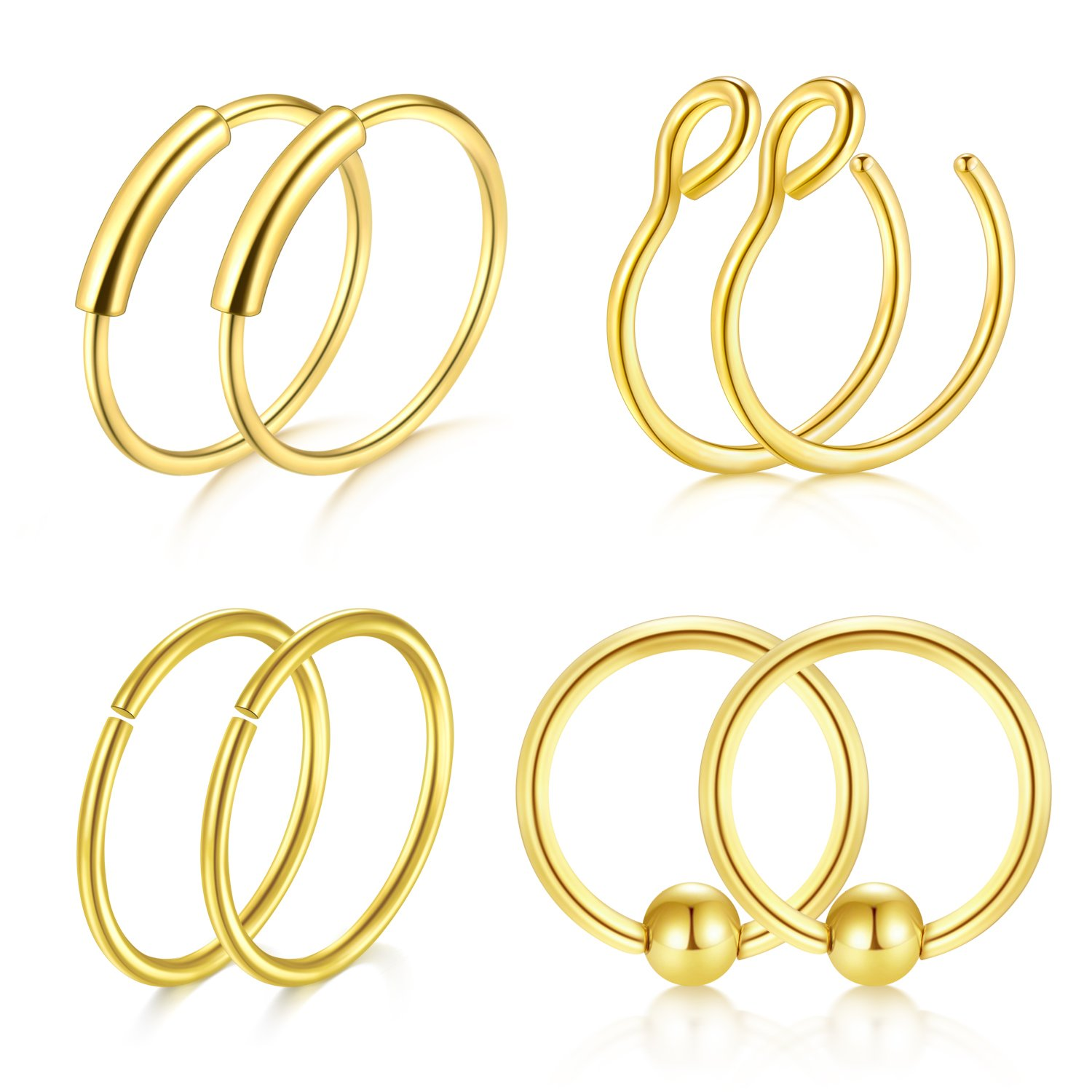 Briana Williams 20G 8mm Nose Rings Hoop Septum Ring Fake Nose Ring Eyebrow Lip Ear Septum Piercing Surgical Steel Jewelry 8pcs ZUHE -5 -3