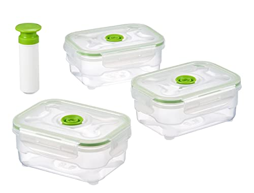 Vacuumsaver air&liquid tight food containers. Storage boxes. Set of 3 x 600 ml rectangular containers + pump