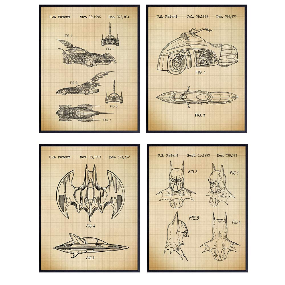 Batman Patent Art Prints - Vintage Wall Art Poster Set - Chic Modern Home Decor for Bedroom, Game Room, Man Cave, Office, Kids Room - Great Birthday Gift for Boys and Men - 8x10 Photo - Unframed
