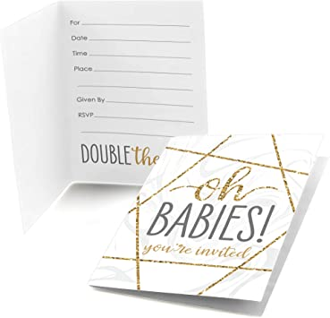 Big Dot of Happiness Its Twins - Invitaciones para baby shower (8 unidades), color dorado: Amazon.es: Juguetes y juegos