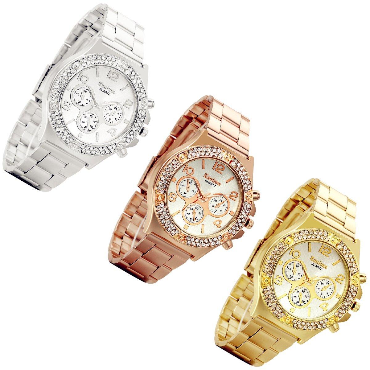Men's Luxury Bling Double Dual Rhinestone Bezel Japan Quartz 30M Waterproof Gold Tone Bracelet Cuff Bangle Dress Unisex Watch (Gold) by Lancardo (Image #4)