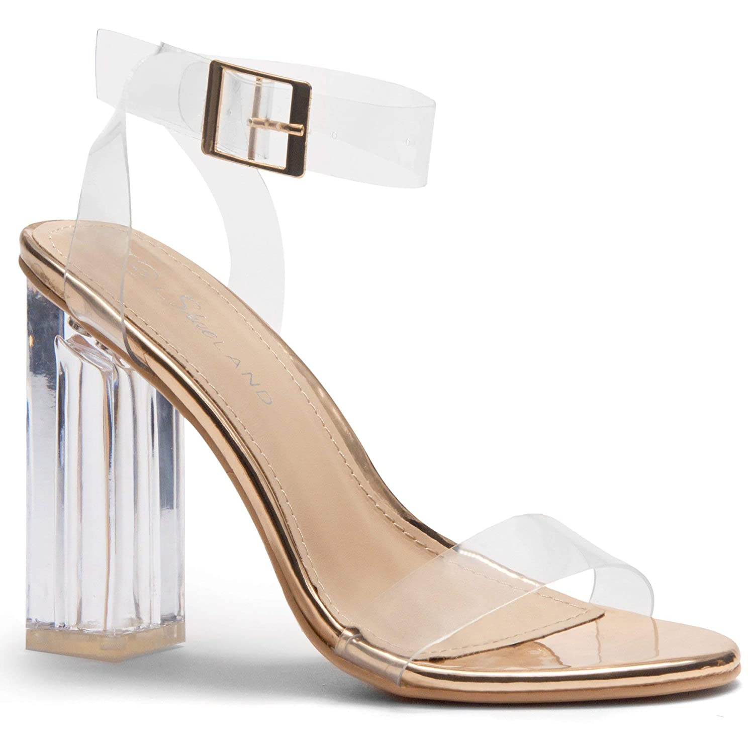 1aa4cb064c Amazon.com | Herstyle Women's Cllaary Perpex Heel Ankle Strap Adjustable  Buckle Lucite Clear Block Chunky High Heel Open Toe Sandal | Heeled Sandals