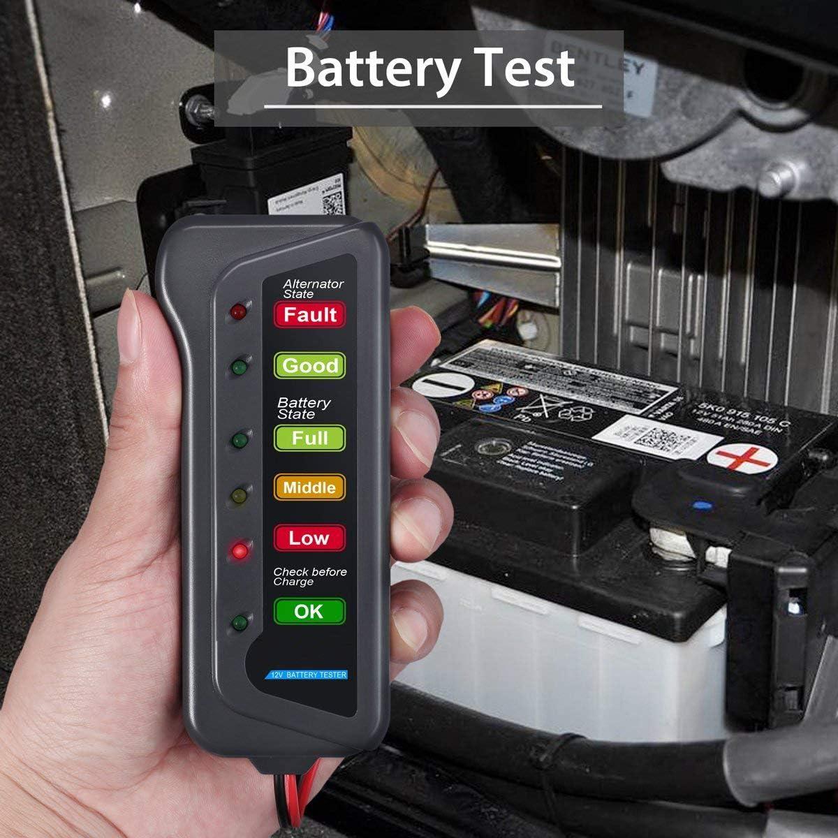 MagiDeal Analizzatore Misuratore Tester Carico Batteria 12v Schermo 6 LED Per Motociclo