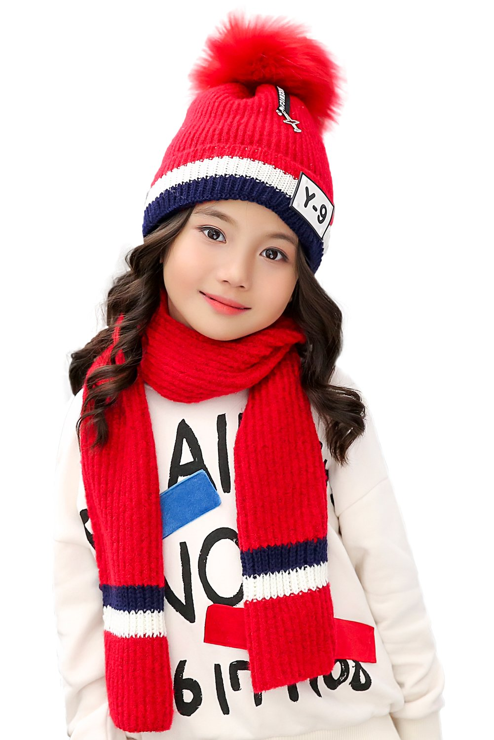 Kids Beanie Pom Hat and Knit Scarf 2pcs Set for Winter Warm Girls Boys 3-8 Years (Black) CA-XBF-HAT-A-BLACK