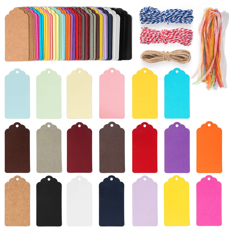 Etiquetas de regalo artes y manualidades 120 unidades de etiquetas de papel kraft para colgar etiquetas de precio con cordel de yute natural de 100 pies para regalos boda Wave shape