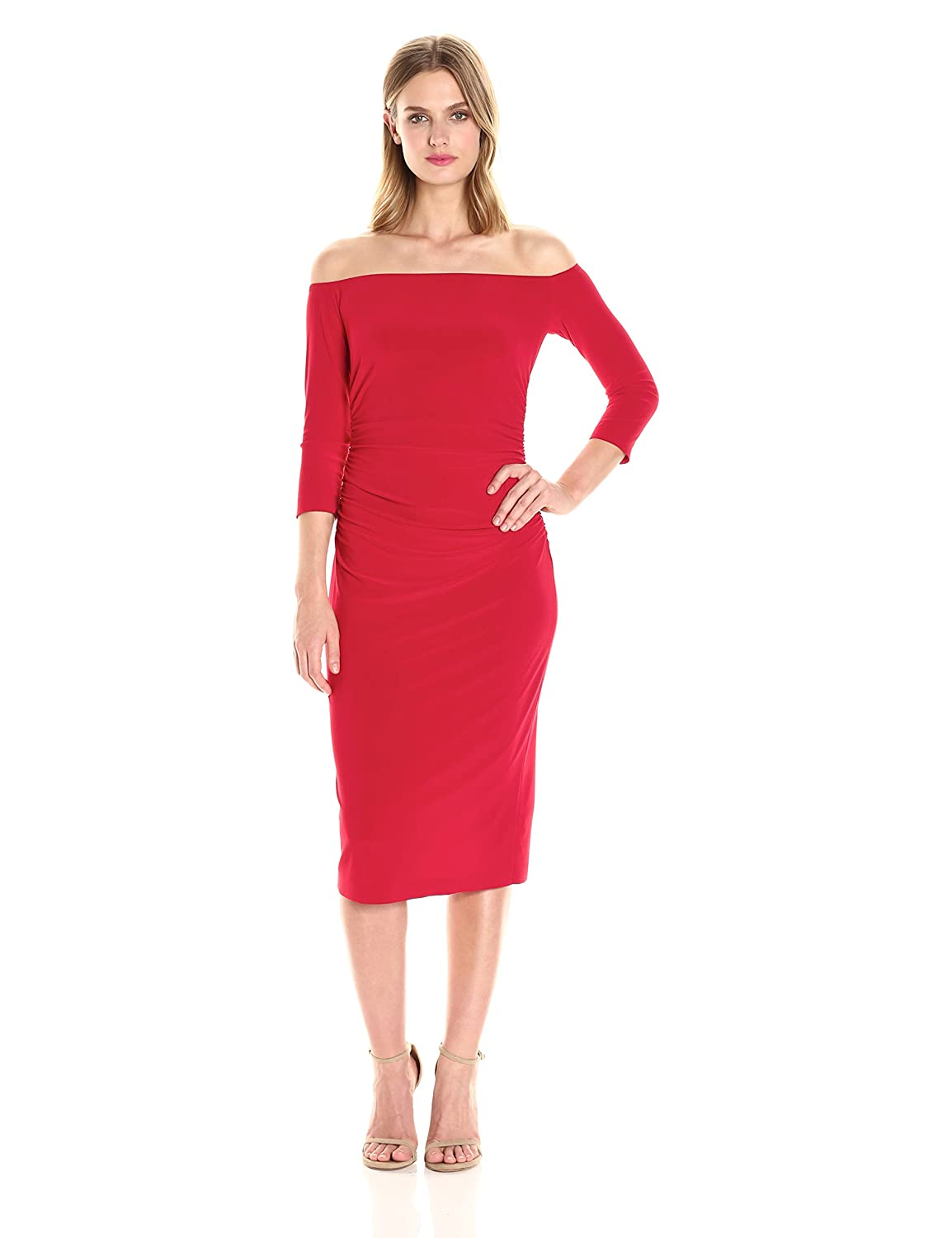 1800c292b6d57 Norma Kamali Women's Off Shoulder Shirred Waist Dress in Red at Amazon Women's  Clothing store: