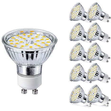 GU10 Bombillas LED 5W GU 10 Blanco Cálido 3000K AC 220V Equivalente a 50 Watt Lámpara Halógena Spot Luz Foco Ojo de Buey 450LM No Regulable Pack de 10
