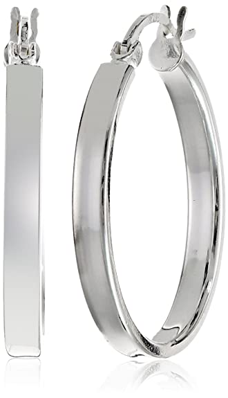 8fbc49ee3 Amazon.com: Gem Stone King 1.00 Inch 925 Sterling Silver Tarnish-Free Hoop  Earrings Thickness is 3.00mm: Jewelry