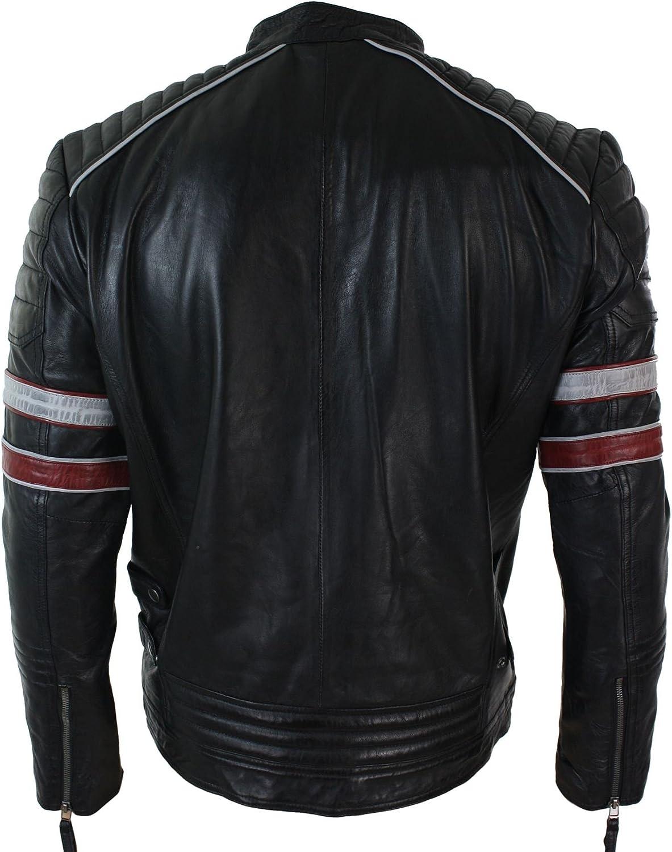 Giacca Biker da Uomo a strisce Rossa e Bianca in Vera Pelle Casual Stile Pilota nero Nero