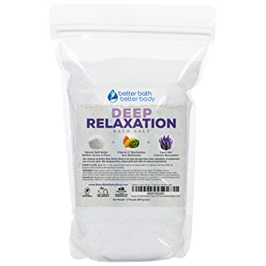 Deep Relaxation Bath Salt 32oz (2-Lbs) - Epsom Salt Bath Soak With Lavender Essential Oils & Vitamin C - 100% All Natural No Perfumes & Dyes - Relieve Tension & Stress & Relax Naturally