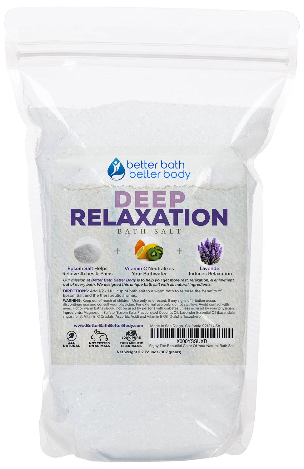 Humble Natural Magnesium Sulphate Epsom Salts Lavender Spa Scented Bath Pure Soak Bath Salts
