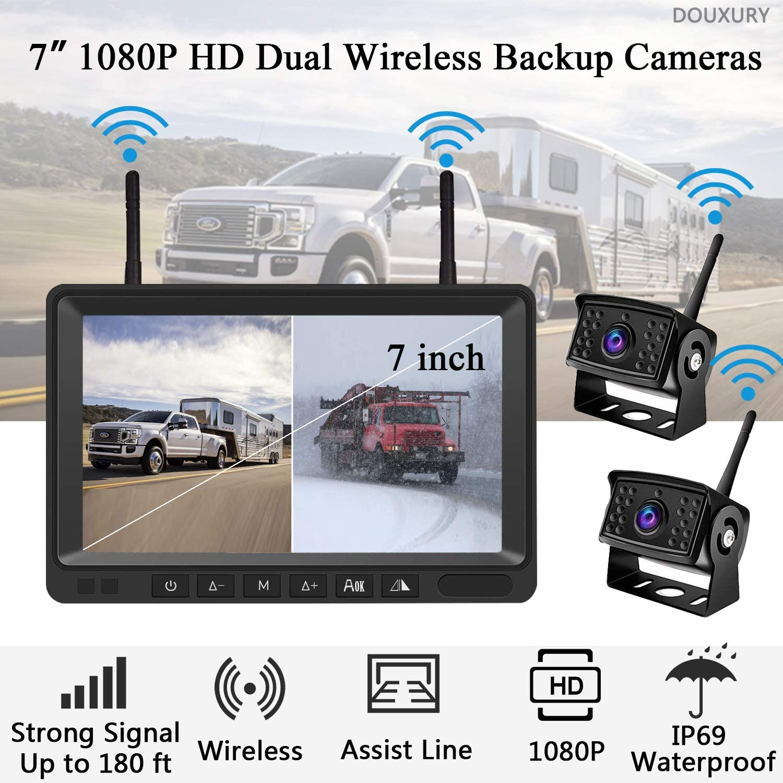 Digital Wireless Backup Camera System for Truck Pickup Trailer Camper Bus RV 5th Wheel Wireless Backup Camera DOUXURY IP69 Waterproof 170/° Wide View Angle HD 1080P Backup Camera HD LCD 7 Monitor