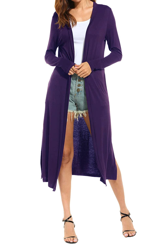 bb09c36f3e Meaneor Women s Pocket Long Sleeve Basic Soft Knit Cardigan Sweater ...
