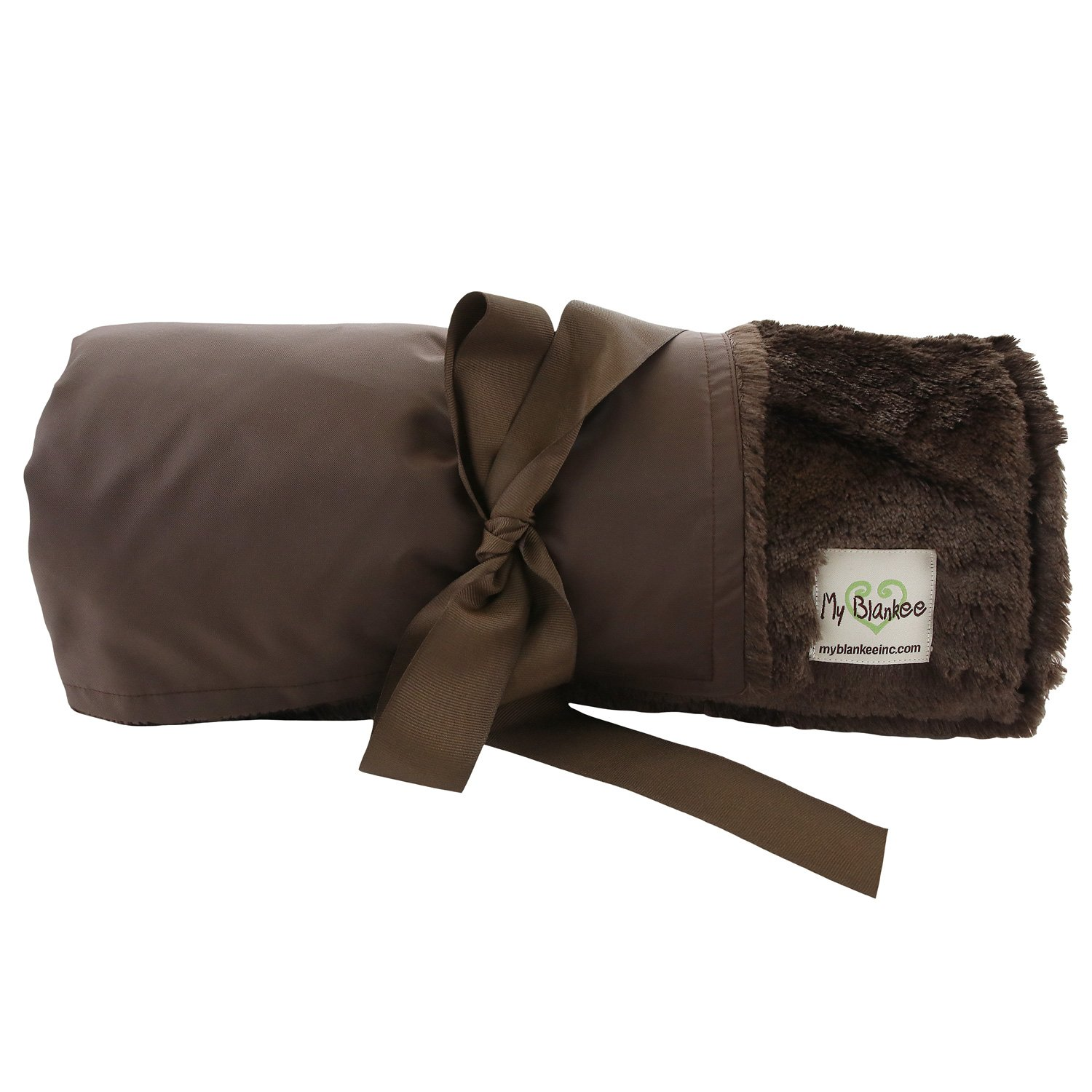 My Blankee Extra Large Picnic & Outdoor Blanket Warm and Soft Bare skin Luxe with Waterproof Backing, Brown, 59'' X 85''