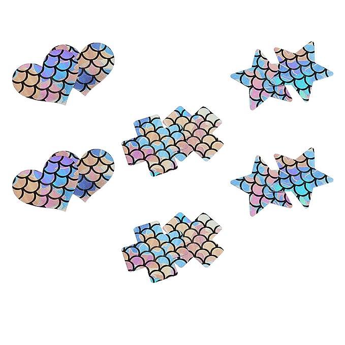 Baoblaze 6 Par de Cubiertas de Pecho Sirena Colorido Pezones de Tez Estrella Corazón Sujetador Mujer - Multicolor, Única: Amazon.es: Ropa y accesorios