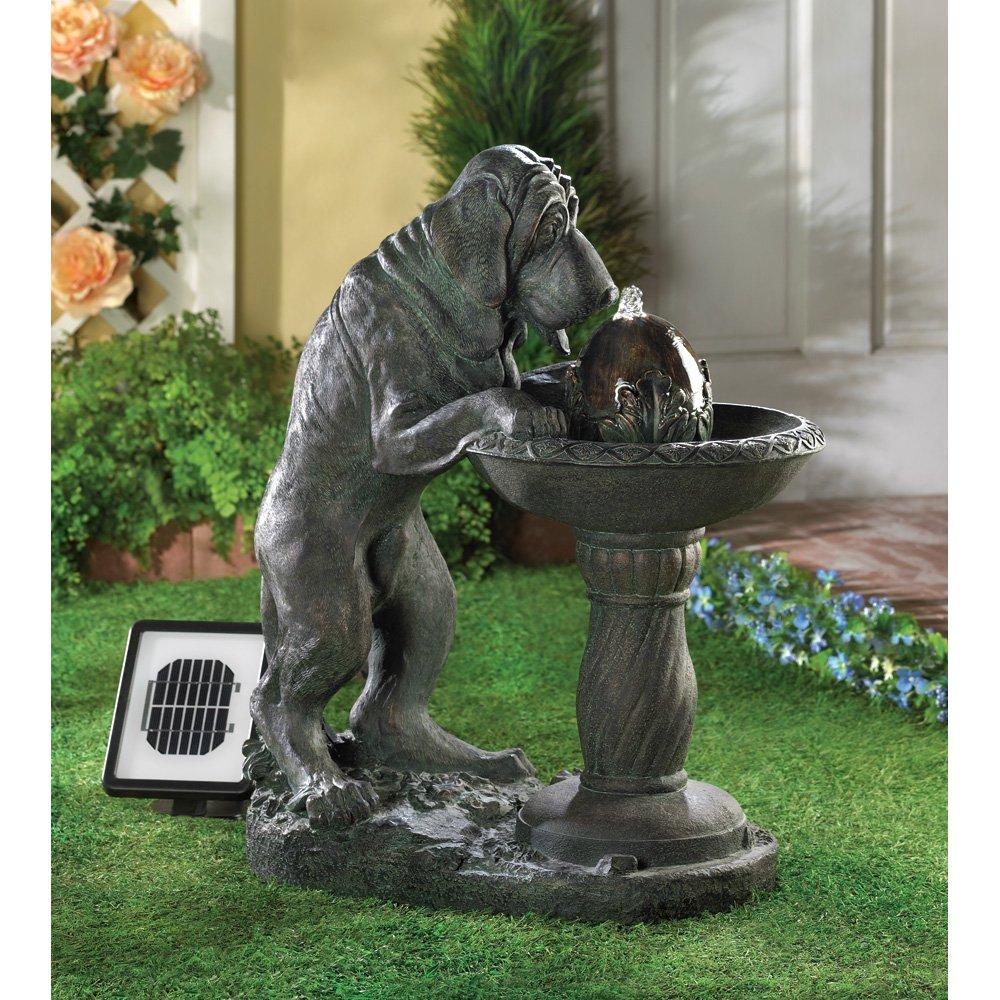 Amazon com thirsty dog faux bronze garden solar water fountain home kitchen