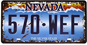 ARTCLUB NEVADA The Silver State 570-WEF, Vintage Metal Tin Sign Auto License Plate Embossed Tag Garage Home Wall Decor
