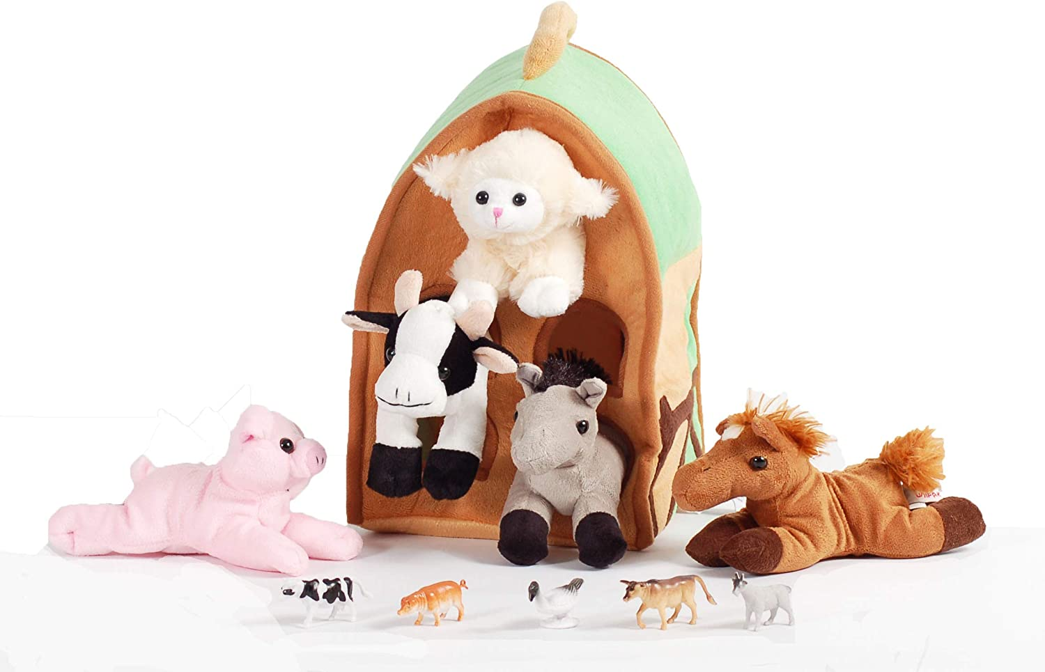 Amazon Com 12 Inch Plush Farm House Playset With 5 Stuffed Animals With Lamb Pig Cow Gray Horse And Brown Horse And 5 Farm Animal Figures Toys Games