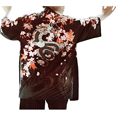 Mens Kimono Jacket Ukiyoe Sakura Cardigan Japanese Style ...