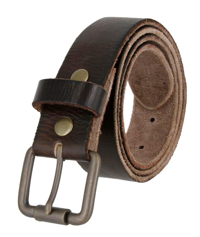 Mens Casual Full Grain Genuine Cowhide Leather Jean Belt Brown Color New 1-1//2 Wide