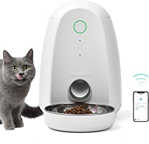 DOGNESS Smart Feed Automatic Cat Feeder, Wi-Fi Enabled Pet Feeder for Cat and Small Dog, Smartphone App for iOS and Android, Portion Control, Fresh Lock System Auto Food Dispenser
