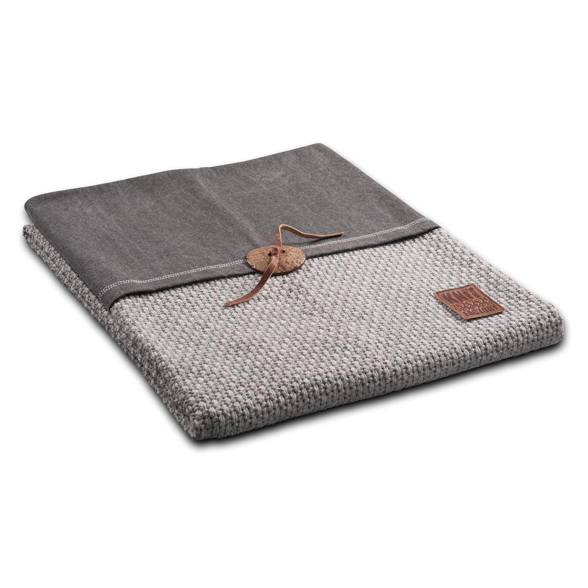 Knit Factory 111111 Strickdecke Plaid Reiskorn 130 x 160 cm, grau