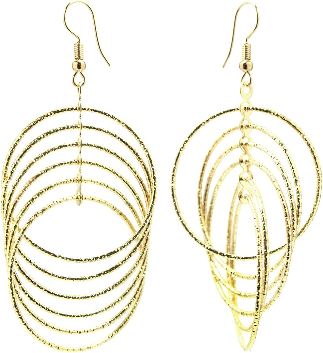2LIVEfor - Pendientes de aro largos de plata y oro, largos, grandes, modernos, redondos