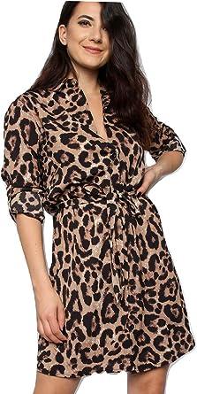 Momo&Ayat Fashions - Vestido - camisa - Animal Print - Cuello ópera - Manga larga - para mujer Marrón Estampado De Leopardo S/M (36-38): Amazon.es: Ropa y accesorios